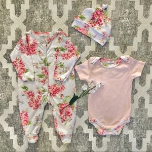 LAURA ASHLEY Floral 3 Piece Baby Girl Set